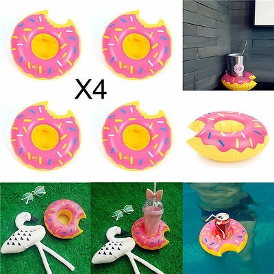 4 × Inflatable Donut Floating Drink Cup Holders Bath Beach Pool Party Doughnut