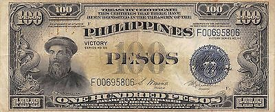 Philippines  100 Pesos  ND. 1944  P 100c Victory Series  Circulated Banknote