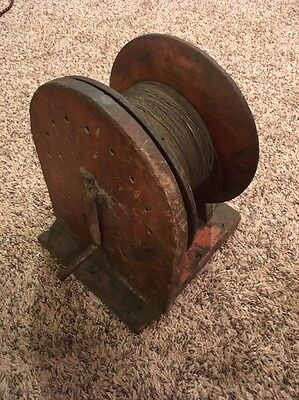 Rare 1890's Mining Mine Surveying Shaft Plumb Bob Wire Reel Spool From Colorado