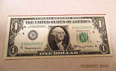 Currency  -  U.s.  -  Un Cut One Dollar Bills  -  Joined At Top  -  Rare