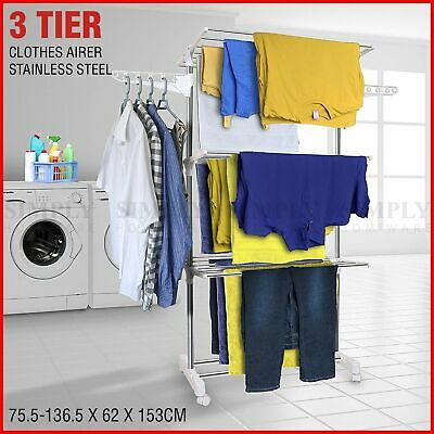 Clothes Line Airer Rack Indoor 3 Tier Steel 20m Drying Space Foldable Portable