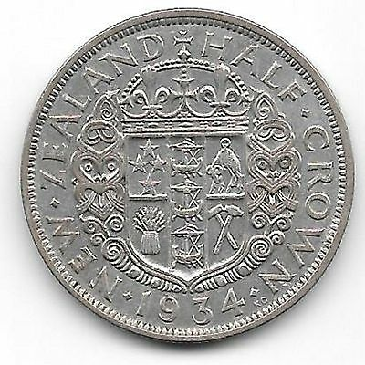 Nz  1934 Half Crown Silver Coin  -  Mid Range Quality