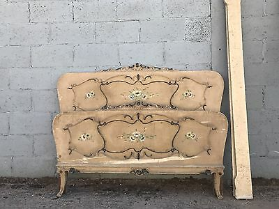 Original Vintage Painted French Kingsize Bed, Antique, Rare