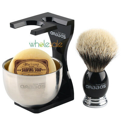 Anbbas Badger Hair Barber Shaving Brush Black Acrylic Stand + Bowl and Soap Gift