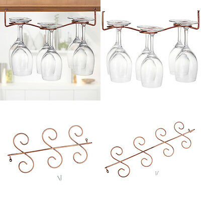 6/8 Glass Wine Rack Stemware Hanging Under Cabinet Holder With Screw