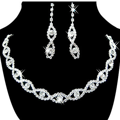Womens Jewelry Set Bridal Wedding Crystal Rhinestone Necklace Earrings US STOCK