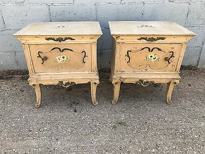 PAIR X2 Original Vintage Painted French Bedside Cupboards/tables