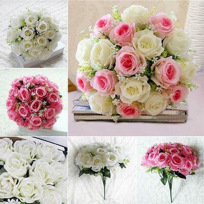 18Head 15 Artificial Silk Roses Flowers Bridal Bouquet Posy Home Wedding Decor