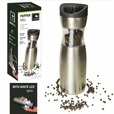 Stainless Steel Electric Salt Pepper Mill Ceramic Grinder Gravity Tilt Operated