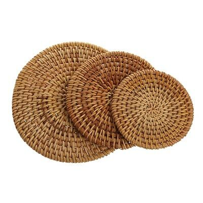 Vintage Rattan Weaving Drinks Cup Mats Coasters Square Round Teapot Mat New