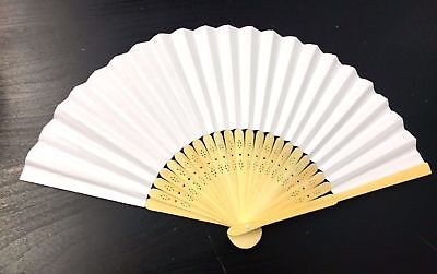 10x Pcs White Hand Held Fan Folding Bamboo Paper Wooden Wedding Events Decor