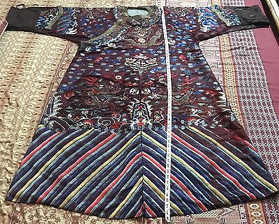Antique Chinese Hand Embroidery Qing Dynasty Silk Robe Damage
