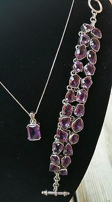 "Beautiful AMETHYST Sterling Silver Toggle Bracelet & Pendant 18"" Necklace Set"