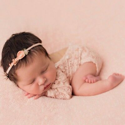 Vintage Newborn Baby Girl Lace Romper Bodysuit Pearl Photography Props Costume