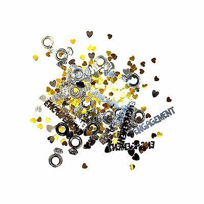 Engagement Party Table Confetti Decoration - Gold / Silver Hearts & Ring 14g