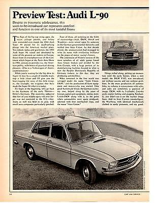 1970 Audi L-90  ~  Nice Original 2-Page Preview Test / Article / Ad