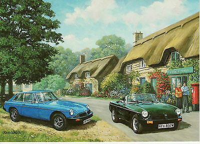 MGB GT MG Roadster Rubber Bumper Royal Mail Post box art blank greeting card