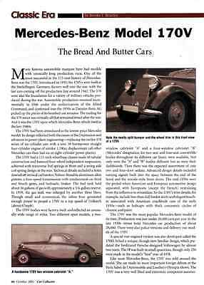 1935-1942 Mercedes-Benz 170V ~   Nice Two-Page Article / Ad