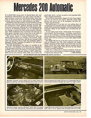 1966 Mercedes-Benz 200 Automatic ~ Original Single Page Article / Ad