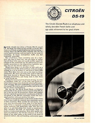1964 Citroen Ds-19  ~  Nice Original 2-Page Road Test / Article / Ad
