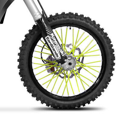 Couvre rayons roue moto cross enduro RAYON cover skins spoke JAUNE FLUO YELLOW
