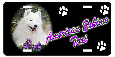 American Eskimo Dog Taxi Line License Plate (( LOW CLEARANCE PRICE))