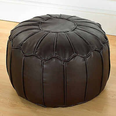 Brown Luxury Faux Leather Piped Moroccan Bean Fully Filled Footstool