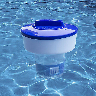 """Swimming Pool Floating Chlorine & Bromine Dispenser Hold 1-3"""" Chemical Tablets"""