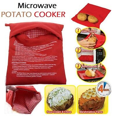 Potato Express Bag Baked Microwave Cooker Reusable Bags Washable Cooking Kitchen
