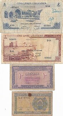 Lebanon Lot Of 4 Banknotes 5 + 10 Piastres And 1 + 5 Livres 1948-1964