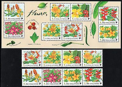 SINGAPORE MNH 1998 FLOWERS Stamps and minisheet