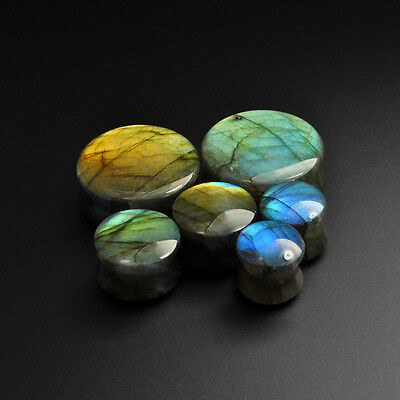 Labradorite Convex Stone Plugs | Grade A Stunning Flash | Stretcher |  8mm-30mm