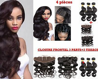 Closure Frontal 3 Parts + 3 Tissages Brésilien Ondules 100% Cheveux Vierges 8A