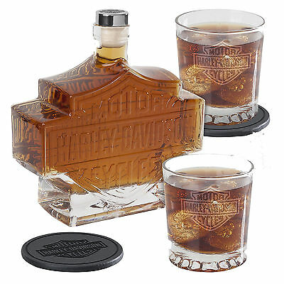 "Harley-Davidson ""DECANTER B+S"" Whisky Flasche, Whiskey Glas, Likör *HDL-18746*"