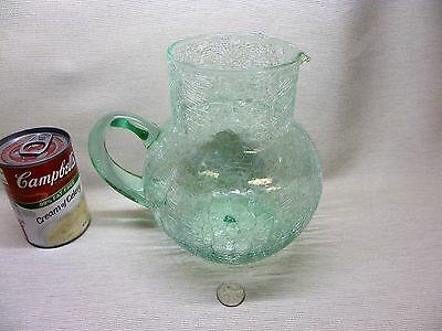 Vintage Hand Blown Crackle Glass Light Green Pitcher with Pontil