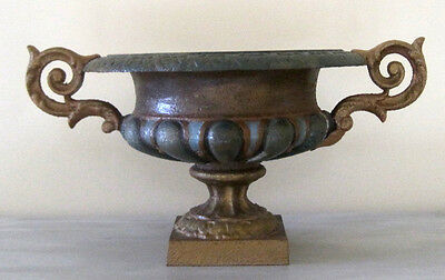 19th Century French Cast Iron Garden Urn Planter Hand Painted Heavy