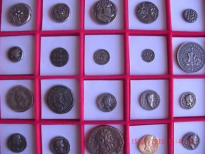 Lot Of 20 Roman Assorted Silver & Gold Plated Ancient Coins Educational Gift