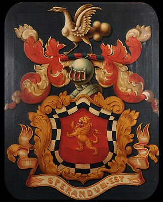 Early 19thC Scottish Antique Coat of Arms or Hatchment of The Wallace Family