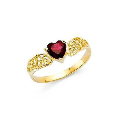 Red CZ Heart Ring Solid 14k Yellow Gold Love Band Curve Promise Ring Style Fancy