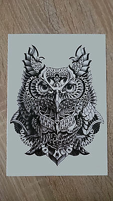 21x15cm-Sheet-High-Quality-Cool-Owl-Fake-Tatto-Party-Waterproof-Temporary-Art