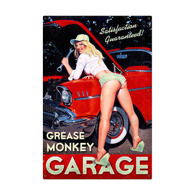Grease Monkey Garage Auto Repair Pin Up Pinup Girl Tin Metal Steel Sign 24x36