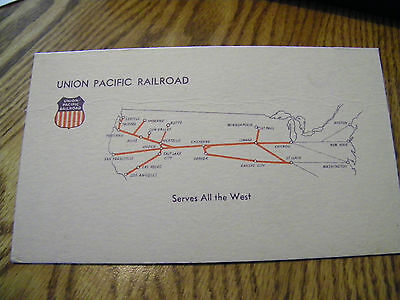 Union Pacific Railroad Ink Blotter Serves All The West 3 1/4 X 5 3/4 Inches