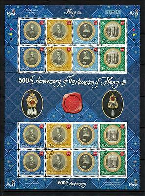Isle Of Man Used 2009 Sg1489-1492 500Th Anv Accession Of King Henry Viii Sheet
