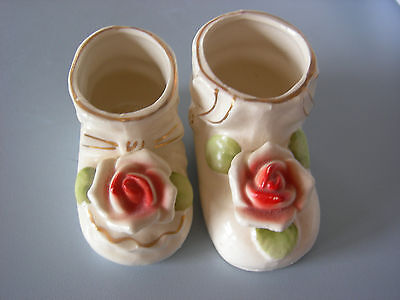 Lot of Two Vintage Small Ceramic Booties Made In Japan Hand Painted