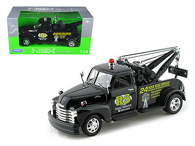 Welly 1953 Chevrolet 3800 Tow Truck Black Road Service 1/24 Diecast Model
