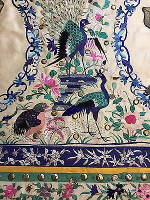 Amazing Antique Chinese Qing Dynasty Hand Embroidery Panel Wall Hanging On Silk