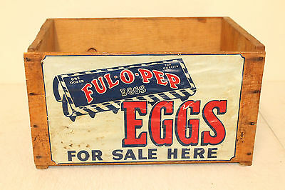 Vintage Original Ful O Pep Eggs for Sale Feed Seed Wooden Box Old Farm