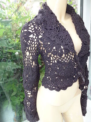 Vtg Brown Irish hand made Knit Crochet Long Sleeve Flower Lace Cardigan 10 - 12