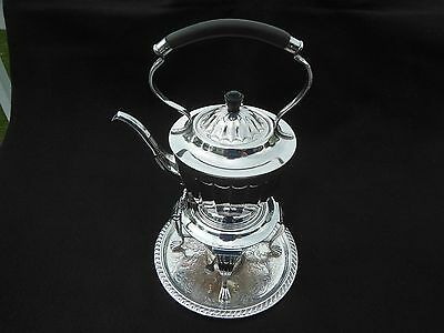 Antique Silver Plate Teapot Kettle On Tilting Server Base With Warmer, England