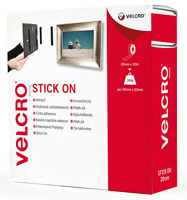 2cm x 10m WHITE VELCRO® Brand Self Adhesive Stick On Tape HOOK or LOOP or BOTH